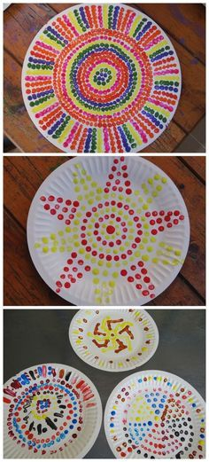 Painting activity for kids - dot painting thinking day, painting crafts kids, painting ideas Aboriginal Art For Kids, Aboriginal Dot Painting, Projects For Kids, Art Projects, Arte Elemental, Kunst Der Aborigines, Classe D'art, Dot Day, Thinking Day