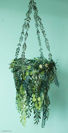 DIY Paper Greenery Chandelier