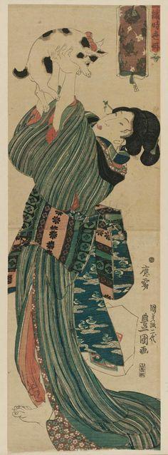 Woman Playing with a Cat Edo Period 1843-1847 Utagawa Kunisada