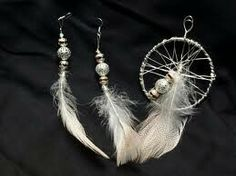 Aretes y  colgante de plumas