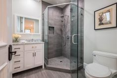 Contemporary 3/4 Bathroom with European Cabinets, Elmer Bathroom Vanity Mirror by Wade Logan, Inset cabinets, Complex Marble