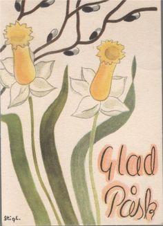 Tradera ᐈ Köp & sälj begagnat & second hand Stig Lindberg, Vintage Easter, Paper Cards, Joyful, Sweden, Disney Characters, Fictional Characters, Walls, Eggs