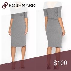 Fitted Grey Scoop Neck Midi Bodycon Dress Perfect for spring! Classy enough to wear with a blazer and heels to work. Fitted and feminine, but stretchy and comfortable. This midi dress is the perfect way to look put together and flirty, but feel like you're wearing pajamas. fairlygirly Dresses Midi