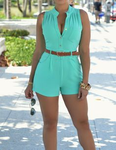Womens Blue Buckled Belted Bodycon Romper Workday Playsuit