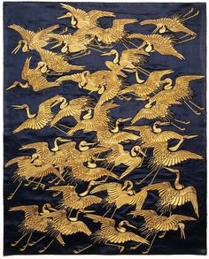 Cranes. Fukusa. Japan. 1840-1870. Satin silk with embroidery in silk and metallic thread. Victoria and Albert Museum.