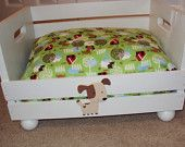 PET BED Upcycled crate wood Dog or Cat pampered pets Gift spoiled rotten. $30.00, via Etsy.