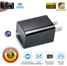 Bush Baby 1080P HD Fully Functional A//C Wall Plug Outlet Hidden Nanny Camera