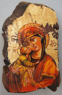 """Vladimir Virgin Mary """"Icon Art"""" Painting on Vintage Gold or Silver Plated Reclaimed Wood  (8832-011) by gdebrekhtgallery. Explore more products on http://gdebrekhtgallery.etsy.com"""