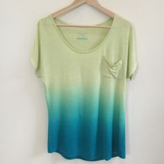 Linen Dip Dye Tee Green dip dye tee from Target's limited edition Calypso St. Barth collection. Material is a very soft rayon/linen blend. Tee has a scoop neck and front pocket. Size S. Runs true to size. Worn once or twice and in beautiful condition! No PP, trades, holds, or lowball offers. Happy poshing!  Calypso St. Barth for Target Tops