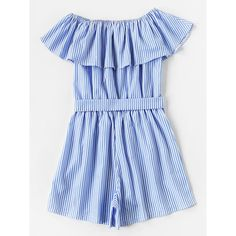Frill Bardot Self Tie Striped Romper (840 INR) ❤ liked on Polyvore featuring jumpsuits, rompers, playsuit romper, striped romper, flounce romper, ruffle rompers and blue romper