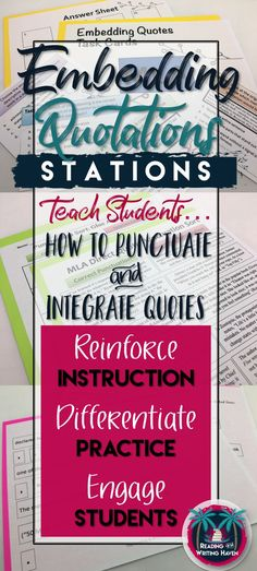Teaching writing to high school students can be both rigorous and rewarding. Using station activities to follow up your direct instruction provides students the repetition they need minus the boredom they dread. These MLA station activities for embedding quotations are sure to engage your students through a variety of learning styles and critical thinking avenues.