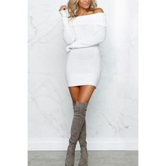 White Off Shoulder Long Sleeve Sexy Sweater Dress ($20) ❤ liked on Polyvore featuring dresses, white, white sweater dress, sweater dresses, long sleeve off the shoulder dress, sexy sweater dress and long sleeve sweater dress