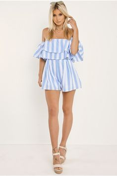 Update your look in a matter of clicks with the very latest fashion trends at In The Style. Things To Buy, Stuff To Buy, Bardot, Playsuit, No Frills, Blue Stripes, Latest Fashion Trends, Vietnam, Celebrity Style