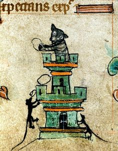 Cat in tower throwing rocks at mice. Detail. England c. 1320-30. Harley 6563. BL by tony harrison, via Flickr