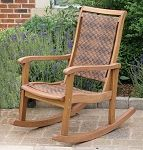 Outdoor Interiors Resin Wicker and Eucalyptus Rocking Chair. Put two on your front porch and enjoy catching the afternoon breeze with a cool beverage as the stress of the day fades away.