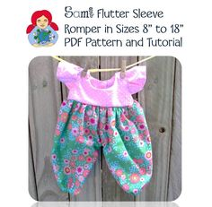 The PDF contains of instructions with plenty of pictures and the pattern pieces. For additional instructions, please check out the video tutorial on Doll Clothes Patterns, Clothing Patterns, Watch V, Flutter Sleeve, Free Pattern, Rompers, Dolls, Pdf, Tutorials