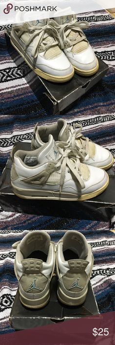 Air Jordan 4 RETRO These Jordan's have been through a lot but if you want a project or restore them they could be worth a couple hundred dollars they are size 5 1/2 youth which is also seven in women's. They are a sand and baby blue color however as you can see there is a lot of fading and discoloration. On the plus side they are very comfortable and iconic. Someone please give these some TLC and they also come with the original box 😊 Nike Shoes Sneakers
