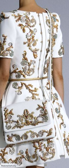 Chanel Haute Couture | F/W 2014-15~ elaborate gold and silver thread and sequin embroidery is featured in this collection