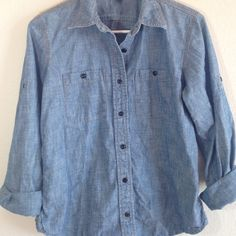 """Ralph Lauren Chambray Button Down Great condition •Sleeves can be worn rolled up or down •Since its petite it is a little shorter than normal medium •24"""" from under collar to bottom of shirt •Sleeve length is 21"""" Ralph Lauren Tops Button Down Shirts"""