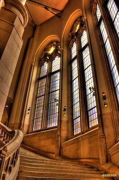 Suzzallo Library at the University of Washington: the stone stairs up to the undergraduate reading room are slightly worn by the feet of thousands upon thousands of students