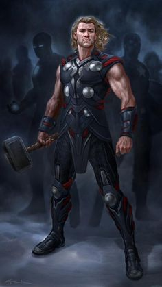 Thor - The Avengers Concept Art by Andy Park Odin Marvel, Marvel Comics, Marvel Vs, Marvel Heroes, Marvel Cake, Thor Wallpaper, Mobile Wallpaper, Andy Park, Norse Mythology