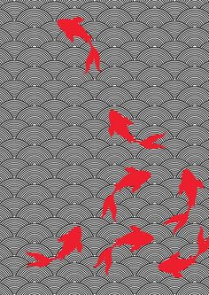 Asian style fabric design- Koi motif on Behance