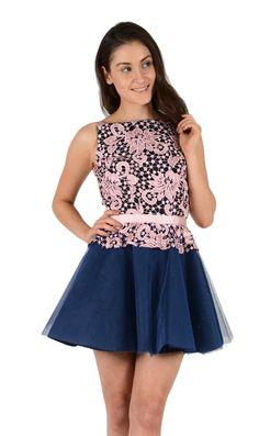 Jones and Jones Elsa Navy and Pink Dress - Dresses - Shop
