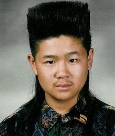 The key to having a successful bad hair day is to wear it like you meant it. This is one reason why we're big fans of the mullet. Have the balls to divide opinion! Combine it with a step and you might even become known as a pioneer :) Bad Hair Day, Worst Haircut Ever, Photoshop Fails, Asian Mullet, 80s Mullet, Haircut Fails, Mullet Haircut, Mullet Hairstyle, Awkward Photos