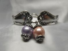 Silver Spoon Bracelet Traditional Style Lavender and by AGothShop, $27.00