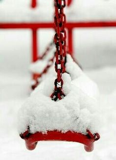 Red and White ~ Swing in Winter I Love Snow, I Love Winter, Winter Colors, Winter Day, Winter Snow, Winter White, Winter Season, Winter Months, Snow White