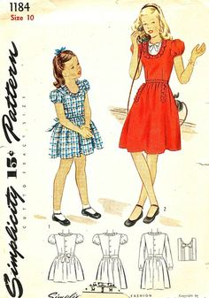 Simplicity Pattern 1184 Vintage 40's Girls Dress and Dickey - Ruffles! Complete Size 10