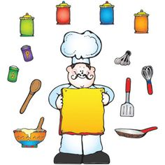 "What's Cooking? Bulletin Board Set, 45 pieces  Includes:  • Chef, 14-1/4"" x 23""  • Large Chef's hat  • 13 kitchen accents  • 30 small chef's hats  • Resource guide    * Illustrations © Dianne J. Hook. Published by Carson-Dellosa Publishing, LLC © Carson-Dellosa Publishing, LLC    $11.99"