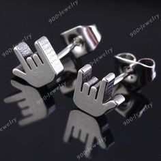 1 Pair Cool Silvery Stainless Steel ROCK Gesture Ear Stud Earring Mens Women's