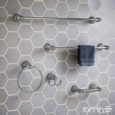 The TR Series Toilet Paper Holder is made out of metal construction, its concealed mounting allows for easy install and its Chrome and PVD finish will never tarnish. Blue White Bathrooms, Led Bathroom Lights, Towel Rod, Transitional Bathroom, Bathroom Collections, Bathroom Pictures, Bathroom Accessories Sets, American Standard, Shower Faucet