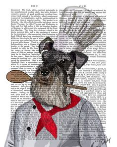 Schnauzer Chef Illustration Art Print Mixed Media by FabFunky, $15.00  Cute but with a Dachshund!