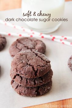 Soft and chewy dark chocolate sugar cookies from The Baker Upstairs. These cookies have the perfect texture and are full of rich chocolate flavor! www.thebakerupstairs.com