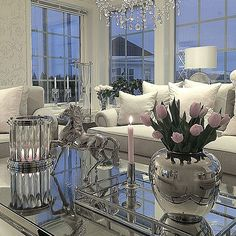 Beautiful white and silver interior with a pop of pink