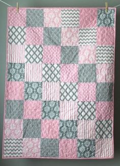 Baby Quilt Girl-Modern Baby Quilt-Pink and Grey Baby Bedding-Pink Grey Quilt-Baby Pink Crib Quilt-Pale Pink Baby Bedding-Homemade Baby Quilt – Quilt Patterns Quilt Baby, Baby Quilts Easy, Baby Girl Quilts, Boy Quilts, Girls Quilts, Rag Quilt, Quilt Blocks, Baby Bedding, Pink Quilts