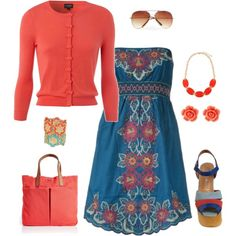 Cute spring/summer tube top dress.  Love the color combination and adding coral accessories makes the outfit pop.  , created by peridotpixie