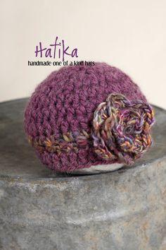 OOAK Purple Crochet Newborn Hat with flower