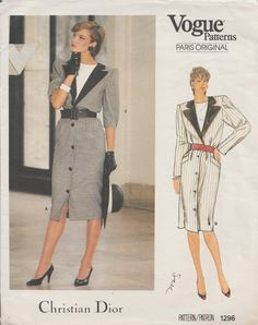 This vintage Vogue sewing pattern was designed in the mid 1980s by Christian Dior. It makes a button front dress with a mock, notched contrast collar. Size 10: Bust 32 1/2 --- Waist 25 --- Hip 34 1/2. It is unused and still in factory folds. The instructions are included. The envelope is in good vintage condition.  To see more designer sewing patterns: https://www.etsy.com/shop/studioGpatterns?ref=hdr_shop_menu&section_id=6940889  To visit my shop: ...