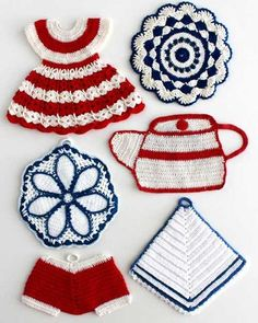"""Watch Maggie review these patriotic Vintage Americana Potholders Crochet Patterns! Design By: Maggie Weldon Skill Level: Intermediate Sizes: Mitered Corner - About 7½"""" wide and 7½"""" long. Red & White D"""