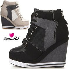 EpicStep Women's Canvas High Top Wedges High Heels Casual Fashion ...