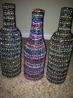 Mardi gras wine bottles