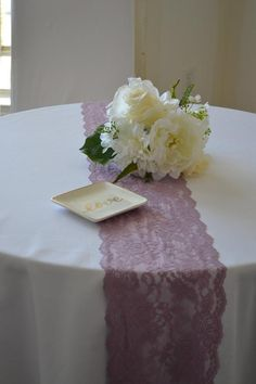 MAUVE lace table runner wide length/ends cut not hemmed/free samples/table decoration/wedding reception/Mauve Wedding wedding Tables lace Wedding Reception Table Decorations, Decoration Table, Wedding Centerpieces, Wedding Tables, Fall Wedding Cakes, Diy Wedding, Wedding Dress, Wedding Shit, Wedding Stuff