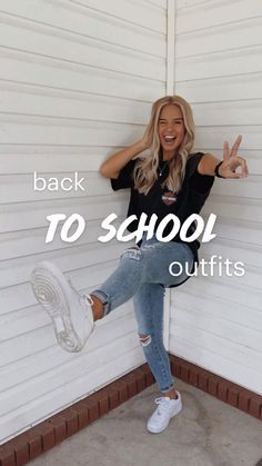 Cute Simple Outfits, Casual Outfits For Teens, Cute Outfits With Jeans, Cute Teen Outfits, Teenage Girl Outfits, Cute Comfy Outfits, Girls Fashion Clothes, Winter Fashion Outfits, Retro Outfits