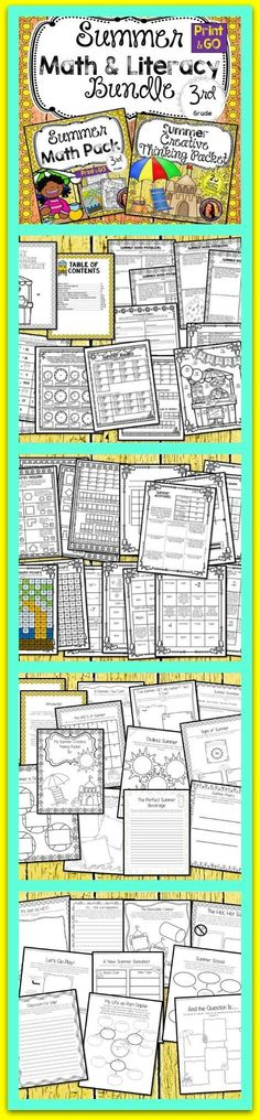 This summer bundle will get your students practicing math and literacy skills in a fun and engaging way!  School is just around the corner and these packets are packed with Hidden Puzzles, Creative Thinking Problems, Secret Messages and more!  These packe