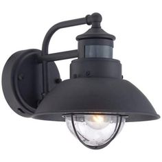 "Fallbrook Black 9"" High Motion Sensor Outdoor Wall Light - #5Y111 | LampsPlus.com"