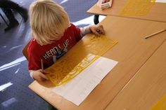 child with Veldtocht-drawingstencil