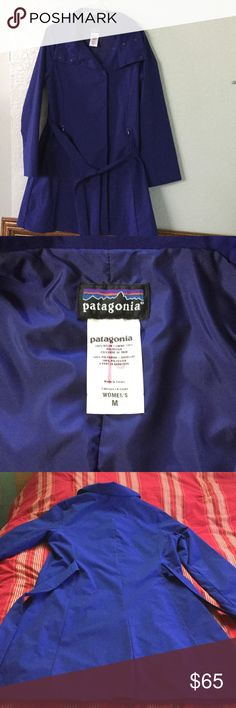 Gorgeous Patagonia Blue coat Medium Excellent condition , gorgeous Blue Patagonia , snap front belted, 2 zippered front pocket, one inside zip pocket. poly lined. Patagonia Jackets & Coats Trench Coats